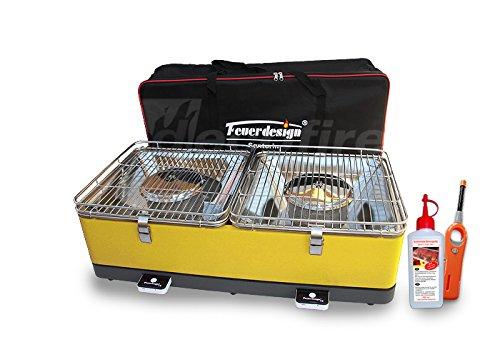 Holzkohle Tischgrill SANTORIN – Rauchfrei – v. Feuerdesign – Gelb im Spar Pack mit Brennpaste und Stabfeuerzeug günstig