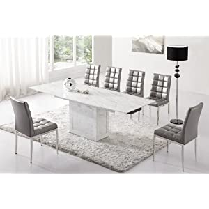 table manger table de salle manger extensible zeus marbre blanc gris et 6 chaises design romeo. Black Bedroom Furniture Sets. Home Design Ideas