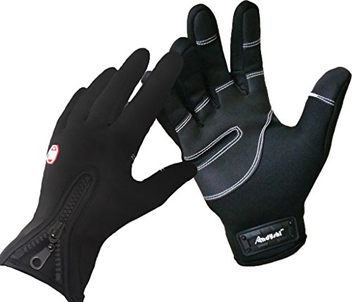 Andyshi Men's Winter Outdoor Cycling Glove Touchscreen Gloves for Smart Phone M Black
