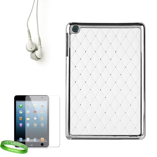 Designer Reinforced Snap On White Diamond Design Cover With Elegant Bejeweled Highlights For All Models Of The Apple Ipad Mini 7.9 Inch Tablet (Wifi, Wifi + Cellular, 16Gb, 32Gb, 64 Gb, Black, White, A5, At&T, Sprint, Verizon Wireless) + Custom Cut Ipad M