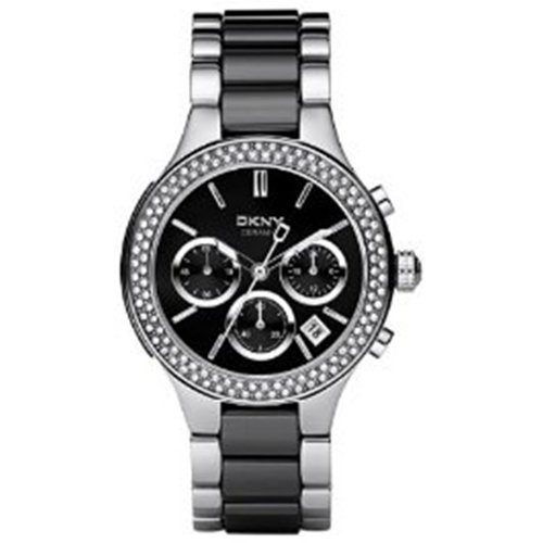 DKNY Ceramic Silver-tone with Glitz Black Dial Women's watch #NY8180