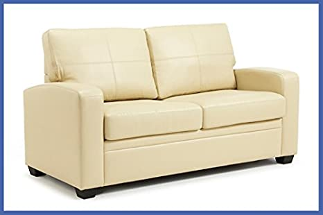 Serene Turin Leather Sofa Bed Cream