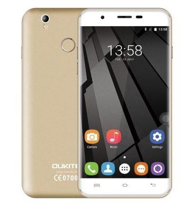Oukitel U7 Plus - 5.5 pulgadas HD Android 6.0 4G teléfono inteligente de cuatro núcleos a 1,3 GHz 2 GB de RAM 16 GB de ROM de la huella digital GPS Dual SIM 13 MP - Dorado champagne