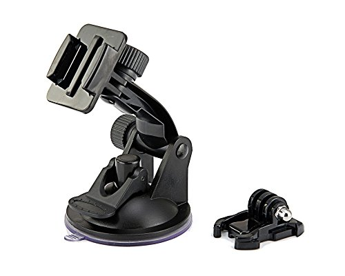 MazeTechno Suction Cup Mount for GoPro Camera Hero 4 Silver Black Session 3+ 3 2 1 HD and FREE Quick Release Buckle/Tripod Adapter Bracket. Action Camcorder Xiaomi Yi, SJcam, SJ4000, SJ5000