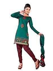 Urban Vastra Green Embroidery Dress Material ( 19001A )