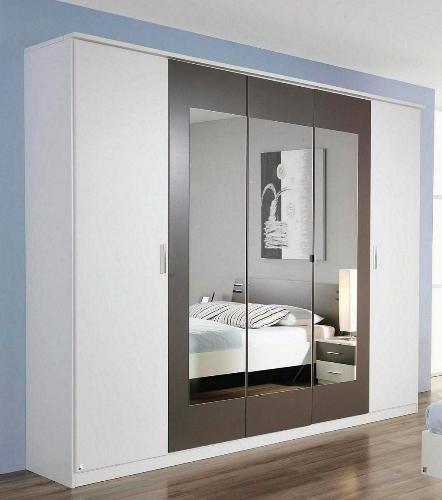 6-6-2047: serie 76 - schöner Kleiderschrank weiß-lavagrau - made in BRD - 5-türig