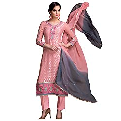 Bhelpuri Women Peach Brasso Georgette Dress Material