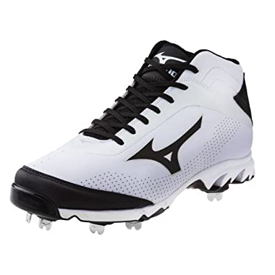 Buy Mizuno Mens 9-Spike Vapor Elite 7 Mid Mens Metal Baseball Cleat - White Black by BTS