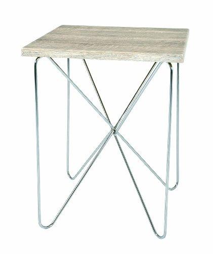 HAKU Möbel 33082 Beistelltisch 40 x 40 x 52 cm, chrom / eiche