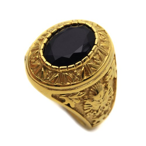 K Mega Jewelry Stainless Steel Black Round Onyx Golden Mens Ring Size 8 9 10 11 R412