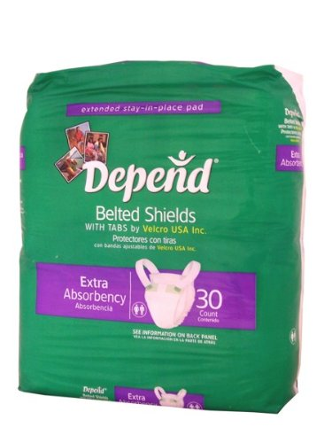 Depend Belted Shields with Tabs by Velcro Extra Absorbency 30 count