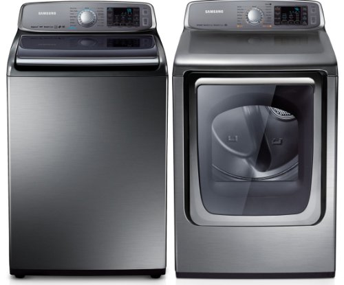 Samsung Stainless Platinum Top Load Washer & Steam Electric Dryer Laundry Set WA50F9A8DSP DV50F9A8EVP