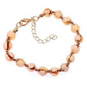 "Murano Glass Bracelet ""Mille Fiori"" amber: Strand Bracelets: Jewelry"
