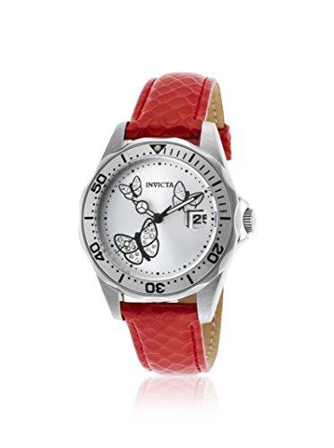 Invicta Pro Diver Blanco Dial Rojo Cuero Damas Reloj 19739 fbca29da11b6