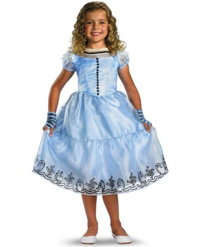 Girls Deluxe Disney Alice In Wonderland Movie Alice Blue Dress Size Small