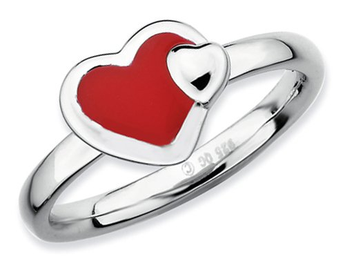 Stackable Expressions Sterling Silver Polished Red Enameled Heart Stackable Ring Size 5
