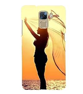 Printvisa Premium Back Cover Vector Gerlpic On A Beach Design For Huawei Honor 7