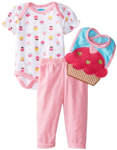 Bon Bebe Baby-Girls Newborn Yummy Cupcakes Bib Bodysuit And Legging Set, Multi, 6-9 Months front-1079504