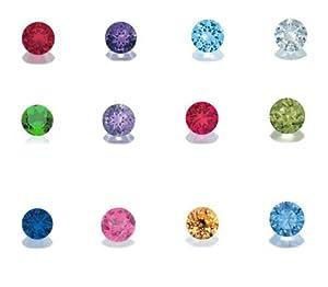 Set of 12 Crystal Birthstones for Loving Family Mother's Heart Locket