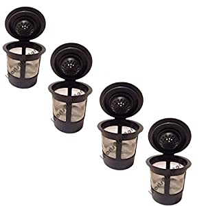 4 Reusable Single Cup Keurig Solo Filter Pod Coffee Stainless Mesh (iPartsPlusMore ®)