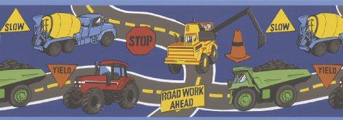 Brewster 443B94103 Kids World Big Dig Dark Blue Construction Trucks Border Wallpaper (Truck Border compare prices)