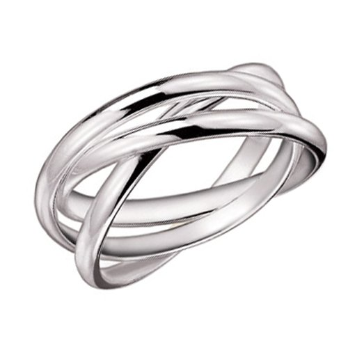 925 Sterling Silver 3 Band Rolling Ring - Size 11 (Interlocking Rings compare prices)