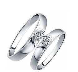 GirlZ! Platinum Plated Double Heart forever Couple Rings (2 pieces - his and her)
