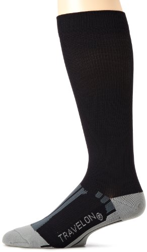Travelon Luggage Compression Travel Socks, Black/Gray, Medium image