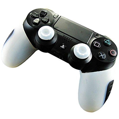 DOTBUY Silicone Case Denso Metà Custodia Protettiva per PS4 x 1 + 2 Controller analogico puntina manopole Cap (White)