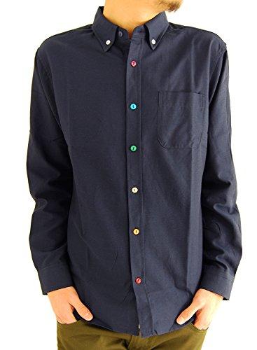 (アーケード) ARCADE メンズシャツ 選べる10タイプ オックスフォード ボタンダウンシャツ カラーボタン 長袖 白シャツ L ネイビー(カラーボタン)