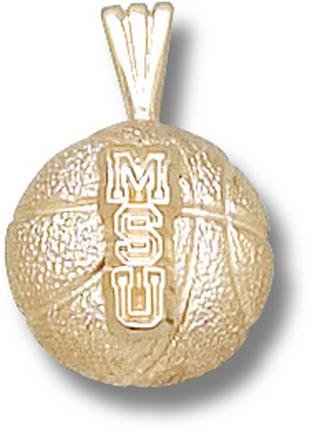 Michigan State Spartans MSU Basketball Pendant - 14KT Gold Jewelry by Logo Art