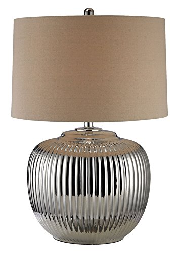 "TRUMP HOME 27"" Oversized Ribbed Ceramic Table Lamp in Silver D2640"