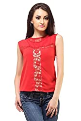 Femme India Women Poly Crepe,Cotton Polyamide Lace Red Vintage Lace Top