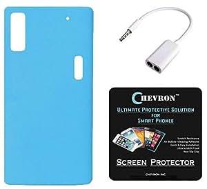 Chevron Rubberized Matte Finish Back Cover Case for Lenovo K3 Note with HD Screen Guard & Audio Splitter (Ocean Blue)