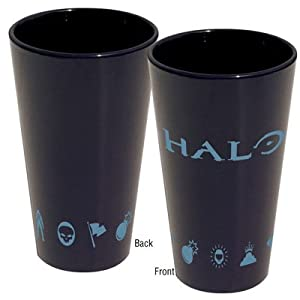 Halo Logo Black Pint Glass