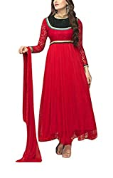 Sara Fashion Women's Georgette Unstitched Dress Material (Red)