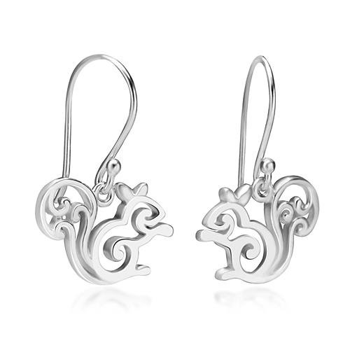 925 Sterling Silver Little Squirrel Dangle Hook Earrings