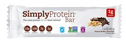Simply Protein Bar, Peanut Butter Chocolate, GF and Vegan, 1.4 Ounce (Pack of 15) (Protein Bars Low Carb compare prices)