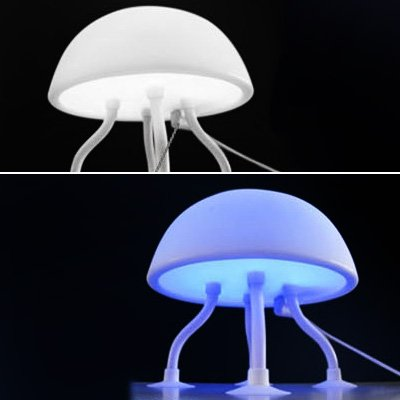 Locomolife Jelly Fish Jellyfish Blue White Led Mood Light Night Lamp Usb Ac Adapter front-747535