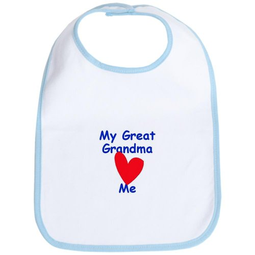 Cafepress My Great Grandma Loves Me Cotton Bib - Standard Sky Blue back-508137