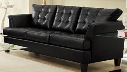 Black Leather Sofa By Homelegance