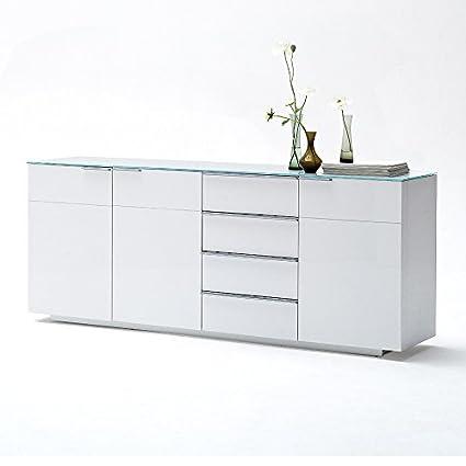 Sideboard Canberra XL mit Glasplatte Kommode Möbel Media Lowboard Schrank Hochglanz Lack Weiss