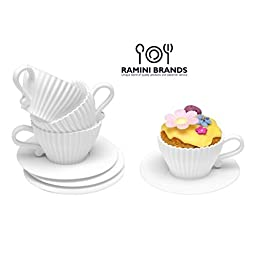 Ramini Brands Best White Teacup - Bonus Recipes - Cupcake Muffin Silicone Liner Mold Bake And Serve Quiche Cups Candy Mats