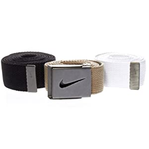 Tiger Woods Men's Webbing Belt 3-Pack,Black/Khaki/White,One Size