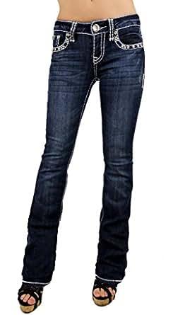 La Idol Women Bootcut Jeans Leather Crystal Cross Flap Stretch in Dark Blue