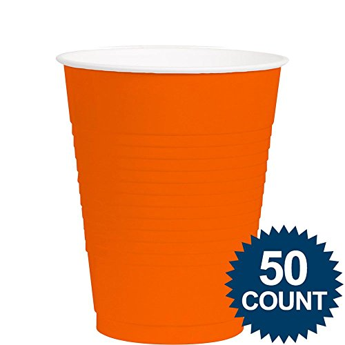 Amscan Big Party Pack 50 Count Plastic Cups, 12-Ounce, Orange - 1