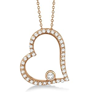 Diamond Open Heart Shaped Pendant Necklace For Women 14K Rose Gold (0.34ct)