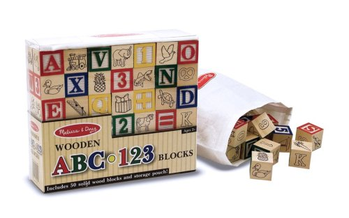 Melissa & Doug Deluxe 50-piece Wooden ABC/123 Blocks Set
