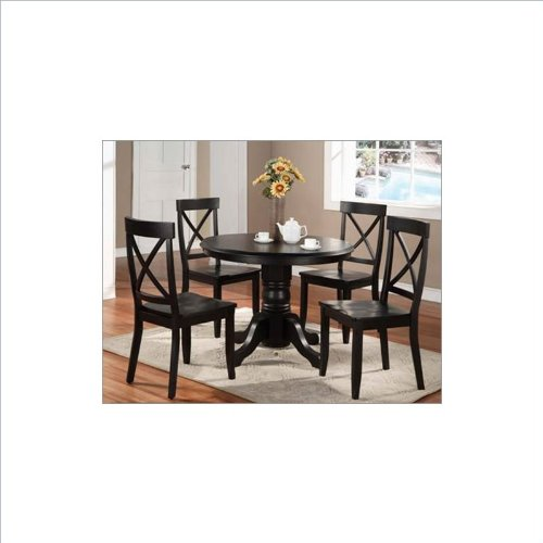 Home Styles™ 5 - Pc. Round Pedestal Table and Chairs, BLACK