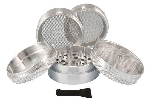 """2.2"""" - Silver 5 Piece SharpStone® Aluminum Herb Grinder"""